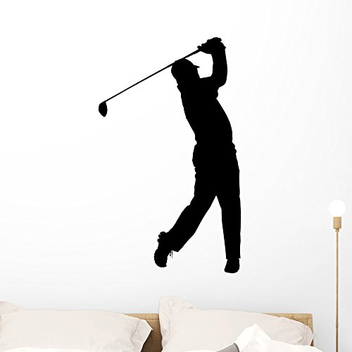- Wallmonkeys Golf Sport Silhouette Golfer Finished Tee-Shot Wall Decal Peel and Stick Graphic WM61360 (36 in H x 26 in W)