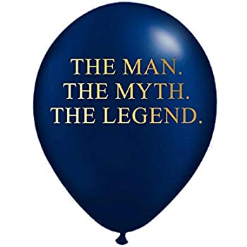White Rabbits Design The Man Myth Legend Balloons In Navy Blue And Metallic Gold
