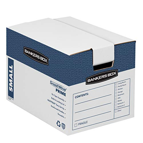 (Bankers Box SmoothMove Prime Moving Boxes, Tape-Free, FastFold Easy Assembly, Handles, Reusable, White, Small, 10 Pack)