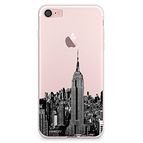 (CasesByLorraine iPhone 8 Case, iPhone 7 Case, New York City View Clear Transparent Case NYC Flexible TPU Soft Gel Protective Cover for Apple iPhone 7 & iPhone 8)