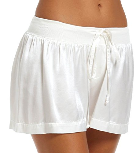 Robe Silk Drawstring (PJ Harlow Women's Mikel Satin Boxer Short with Draw String,Pearl,X-Large)