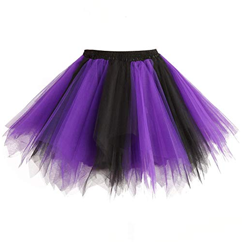 Topdress Women's 1950s Vintage Tutu Petticoat Ballet Bubble Skirt (26 Colors) Black Purple L/XL -