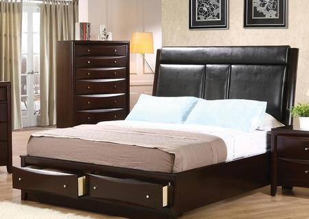 Coaster Phoenix 200419Q Queen Size Platform Bed with Leatherette Upholstered Headboard Storage Drawers Brushed Nickel Hardware Solid Wood and Maple Veneer Construction in Cappuccino (Phoenix Upholstered Bed)
