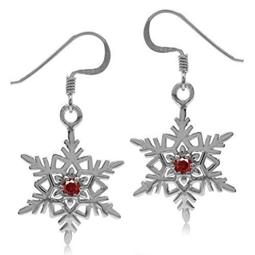 Silvershake Garnet Red Cubic Zirconia 925 Sterling Silver Snowflake Dangle Hook Earrings