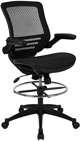 Flash Furniture Mid-Back Drafting Chair with Flip-Up Arms, Transparent Black Mesh and Black Frame
