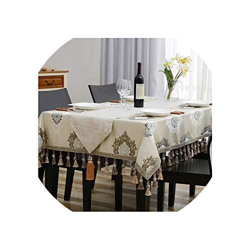 Amazing Design Embroidered Table Cloth Luxury Fine Precise Tassel Euro Tablecloth Royal Dinning Table Covers,140X180Cm
