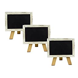 Mini Free Standing Wood Frame Chalkboard for Counter - 6-in White - Set of 3