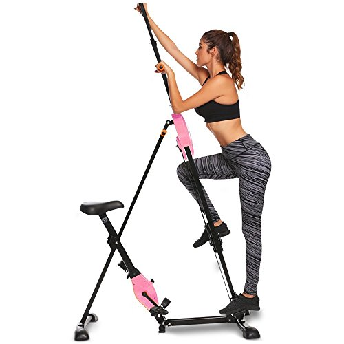 Moroly Vertical Climber 2 in 1 Climbing Stepper Folding Exercise Machine,Fitness Equipment Climber for Home Gym Cardio Workout Body Trainer (US Stock) (Pink) (Best Time To Climb Mt Whitney)
