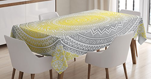 Ambesonne Grey and Yellow Tablecloth, Soft Pastel Color Ombre Ethnic Tribal Mandala Circular Art Medallion Print, Dining Room Kitchen Rectangular Table Cover, 52 W X 70 L inches, Grey Yellow