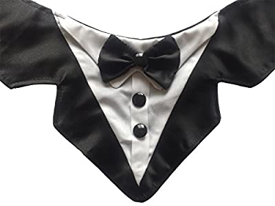 Vedem Formal Dog Tuxedo Bandana with Bow Tie Adjustable Pet Satin Triangle Bibs Scarf for Wedding, Party and Birthday by Mengxi