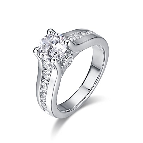 S925 Rhodium Plated Sterling Silver 4-Prong Set with 6.5mm 1ct Cubic Zirconia CZ Engagement Ring (5.5)