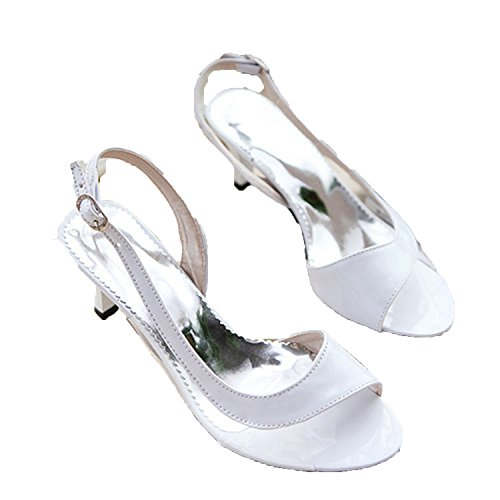Summer Ladies Sandals Transparent Neon Low Heels Shoes High Heels Yellow Size 11 12 46,White,8.5