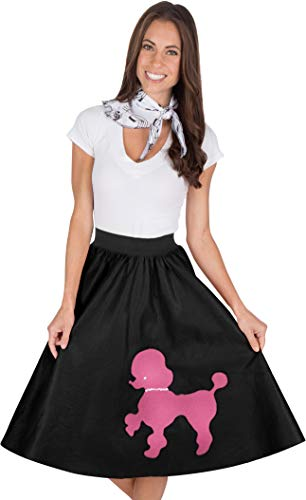 Kidcostumes Adult Poodle Skirt with Musical Note Printed Scarf Black and Hot Pink]()