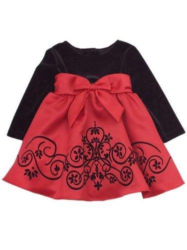Velvet Satin Holiday Dress (Girls Special Occasion Dress : Black Velvet to Red Satin Girls Holiday Dress (16 with Bracelet for Mom))