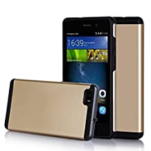 Huawei P8 Case , FYY [Vibrant Series] Lightweight 2 in1 Hybrid Dual Layer (Plastic Hard Shell and Flexible TPU) Protective Case for Huawei P8 Lite Gold & Black