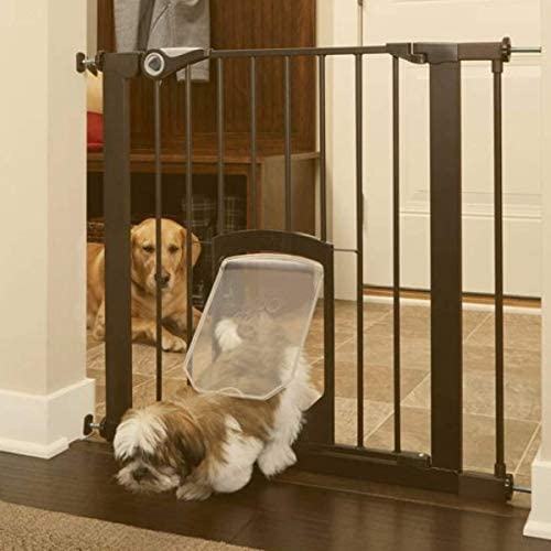 North States MyPet 38 Wide Petgate Passage Secure gate with Small Lockable pet Door. Pressure Mount. Fits 29.8 – 38 Wide 30 Tall