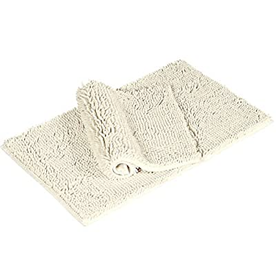 "Shag Chenille Bath Rugs Non Slip Thick Shaggy Chenille Bathroom Rugs, Bath Mats for Bathroom Extra Soft and Absorbent - Bath Rugs Set for Indoor/Kitchen (Set of 2-20"" x 32""/17"" x 24"") Cream - Super Soft Shag: The bathroom carpet is made of chenille fabric microfiber, very soft, comfortable. The carpet consists of thousands individual microfiber short rods that give the carpet a super absorbent, dry function, even if you have just walked out of the bathroom and your feet can dry quickly. Perfect Size: 17*24 inches and 20*32inchs, perfect for your bathrooms, living rooms, bedrooms or the entrance to your home. Besides, it also can be used as the bed for your pets. Non-Slip: the durable non-toxic, non-skid and waterproof backing, Which keep the rug in place and provides stability when you step in and out of the bathtub or shower, no more worries for kids and elders. - bathroom-linens, bathroom, bath-mats - 414IL4xxl%2BL. SS400  -"