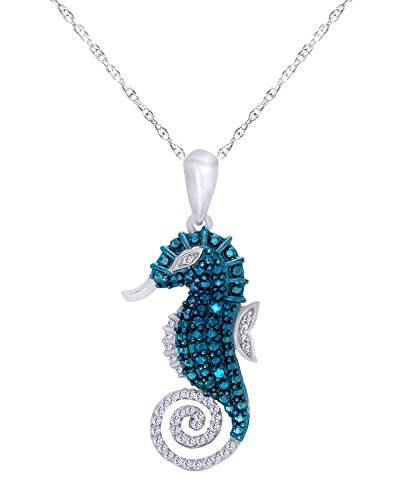 Wishrocks 1/10 CT Natural Blue & White Diamond Seahorse Pendant Necklace 14K White Gold Over Sterling Silver 14k Gold Seahorse Pendant