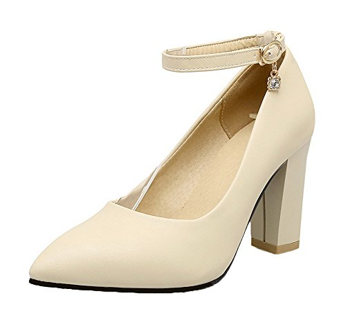 with Heels Pointed High Solid Charms PU Shoes Beige AmoonyFashion Closed Buckle Toe Women's Pumps qUPg4