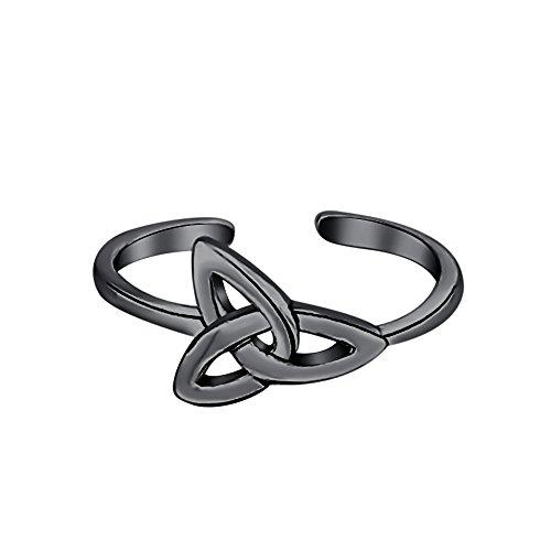 Celtic 14k Ring Toe (SVC-JEWELS Triquetra Celtic Knot Midi Ring 14K Black Gold Plated Adjustable Toe Ring)