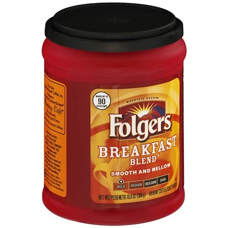 Folgers Breakfast Blend Ground Coffee, 10.8 oz (Pack of 2)