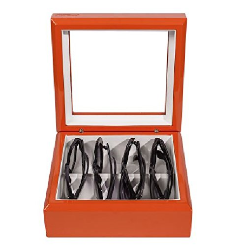OYOBox Luxury Eyeglasses Eye Wear MIni Orange Lacquer Finish Wooden Organizer Box