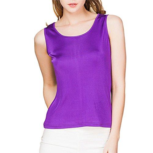 Silk 100% Knit - 100% Silk Knit Women's Sleeveless Tank Top[US14,Purple]