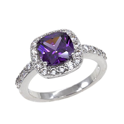 s Wedding Party Statement CZ Cocktails Gold Plated Classic Fashion Size 5 - 10 (Purple, 7) (Amethyst Cubic Zirconia Ring)