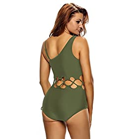 - 414ILj7RuEL - Lalagen Women's Sexy Lace up Hollow Out Monokini Plus Size One Piece Swimsuit