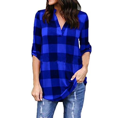 Shirt Bleu Chemisier Noir Plaid Vrac Femmes Longue V en 3 Top col Shinekoo Manche 4 OqBx7wz
