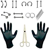 20pcs/lot Professional Piercing Kits Puncture Ear Nose Eyebrow Sets Plier Piercings Clamp Steel Needles Tool Kits Body Jewelry Body Piercing Tools