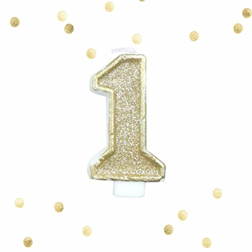 Light Gold Glitter 1st Birthday Candle Number 1 Gold White One Smash Cake Topper -