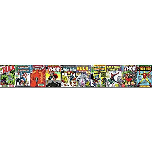 - York Wallcoverings Disney Kids III Marvel Comic Book Covers Border, Reds