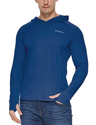 - Baleaf Men's UPF 50+ Sun Protection Basic Long Sleeve Performance Hoodie T-Shirt Ocean Blue S