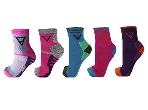 FITSHIT Athletic Hiking Socks - 5 Pack - Mens & Womens Multi Performance Outdoor Wool Blend Sock (Quarter Length - 5 Pack) (Socks Womens Outdoor Quarter)