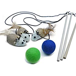 3 Cat Kitten Teaser Wand Toys, Plus 2 Wool Felt Ball Toys, Sisal with Mouse, Bell, Feather, Elastic String, and Sturdy Wood Rod, Interactive Fun, Cat Catcher Mice, Ball Colors May Vary