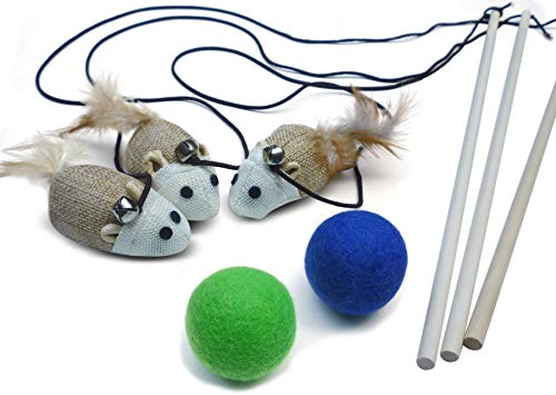 3 Cat Kitten Teaser Wand Toys, Plus 2 Wool Felt Ball Toys, Natural Sisal with Mouse, Bell, Feather, Elastic String, and Sturdy Wood Rod, Interactive Fun, Cat Catcher Mice, Ball Colors May Vary