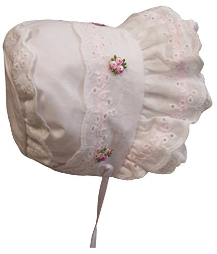 N'Ice Caps Baby Girl Fancy Double Brimmed Eyelet Bonnet (Infant X-Small(1-2 Months), White/Pink)