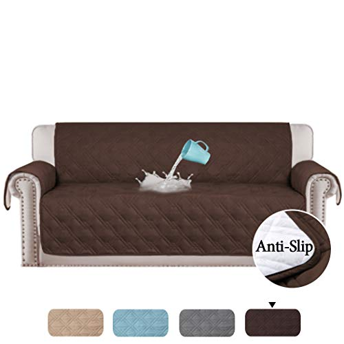 H.VERSAILTEX 100% Waterproof Extra-Wide Couch Cover for Dogs Non-Slip Oversized Sofa Covers for Leather Furniture Protectors for Sofas Lounge Covers (Oversized Sofa: Brown) - 86