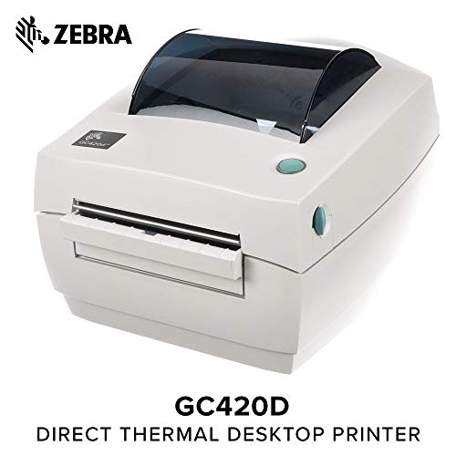 Zebra - GC420d Direct Thermal Desktop Printer for Labels, Receipts, Barcodes, Tags, and Wrist Bands - Print Width of 4 in - USB, Serial, and Parallel Port Connectivity (Includes ()