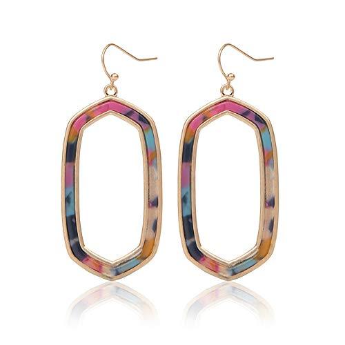 - MUYIXIN Acrylic Earrings Resin Hoop Earrings Studs Drop Dangle Earrings LeopardGeometry Bohemian Earrings Women Fashion Jewelry (Pink Blue)