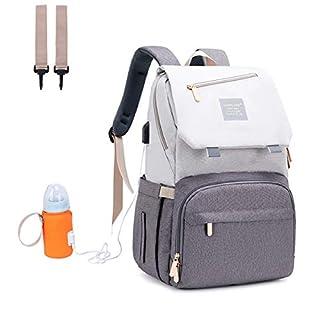 Manrany Diaper Bag Backpack, Multifunction Mummy Bag, Large Bag, Waterproof, USB Charging Port, Insulated Pockets for Mom&Dad, Light Grey (Light Grey)