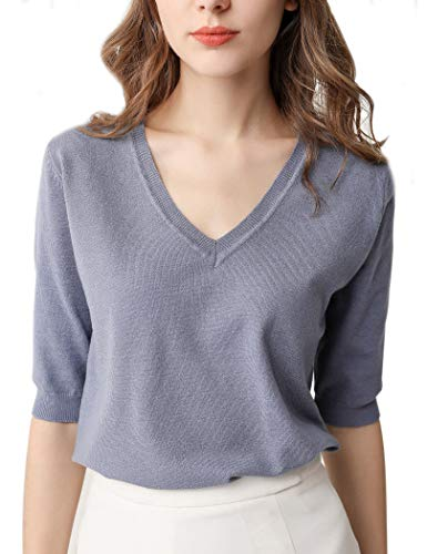Women's Casual V Neck Knit Pullover with Sleeves Soft Cashmere Shirt Classic Lightweight Sweatshirt Tops Blouse T-Shirt