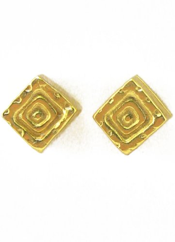 Across The Puddle, Historical Jewelry Collection, 24k Gold Plated Pre-Columbian Carved Cube (XS) Stud Earrings