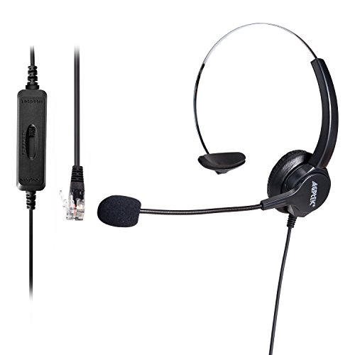 AGPTEK Hands-free Call Center Noise Cancelling Corded Monaural Headset Headphone for Desk Telephone with 4-Pin RJ9 Crystal Head