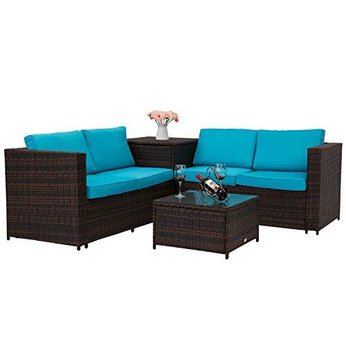 Kinbor 4PCS Outdoor Rattan Wicker Patio Sofas Blue Cushion Seat Set Furniture Lawn Storage Table (Corner Patio Furniture)