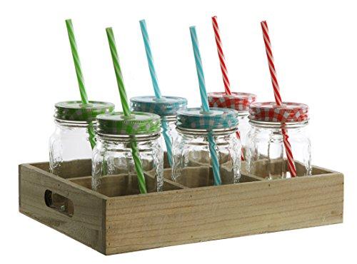 6er Set Gläser mit buntem Deckel kariert + Strohhalm auf Tablett Trinkglas 450 ml Glas bunt ohne Henkel Cocktailglas Bowleglas modern ausgefallen