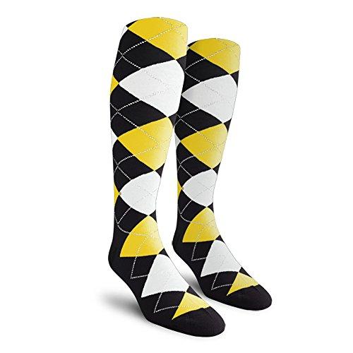 Argyle Golf Socks: Over-the-Calf - Black/Yellow/White - Mens ()