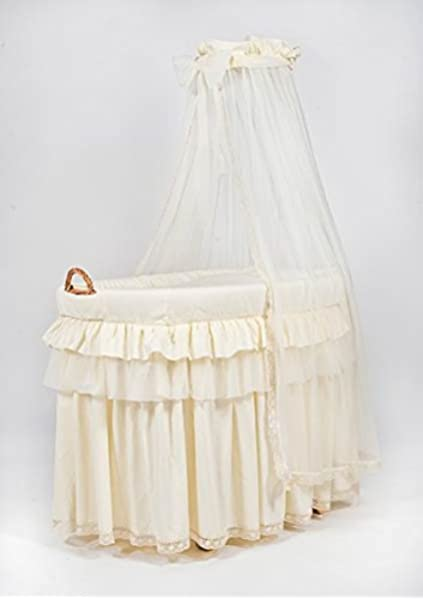 White ALANEL Bedding Set with Drape for Ophelia Wicker Crib Moses Basket from ALANEL