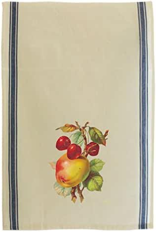 Peach And Cherries Vintage Look Cotton Retro Stripe Dish Kitchen Towel Blue Stripe